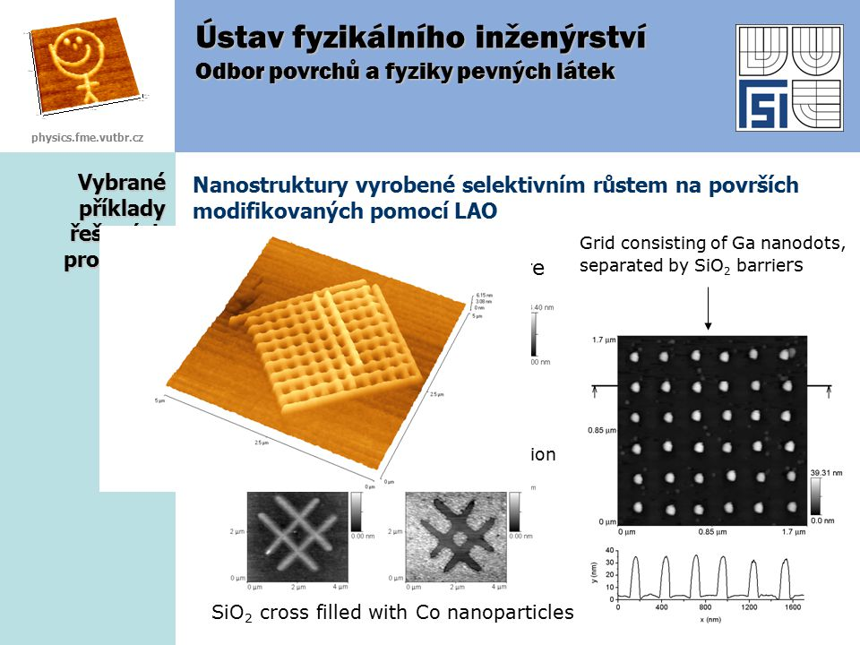 Vybrané příklady řešených problémů Nanostruktury vyrobené selektivním růstem na površích modifikovaných pomocí LAO Ústav fyzikálního inženýrství Odbor