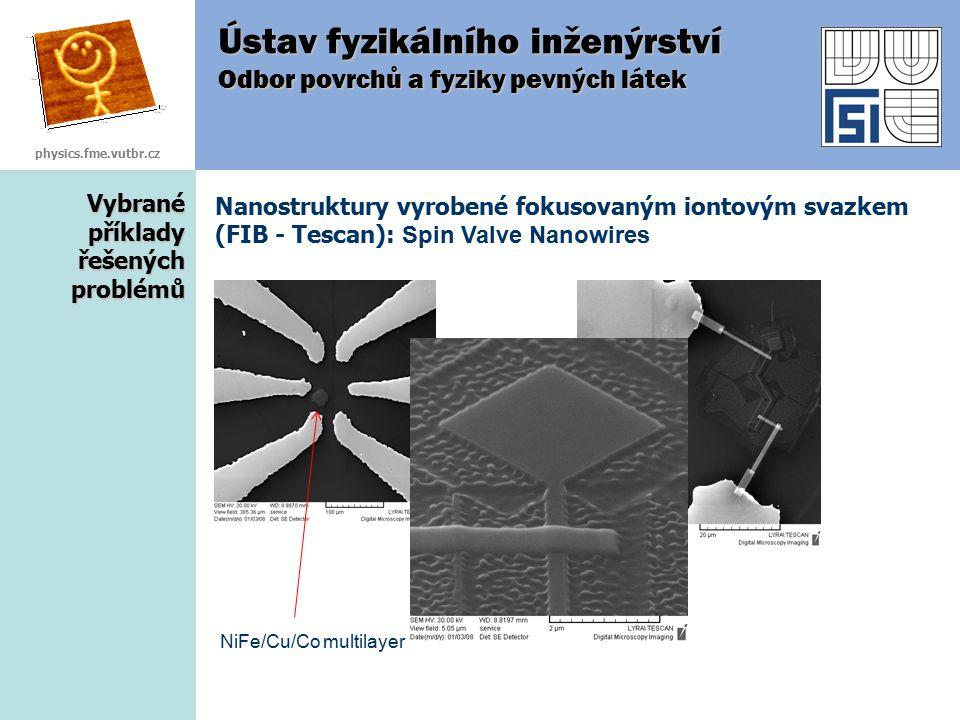 Vybrané příklady řešených problémů Nanostruktury vyrobené fokusovaným iontovým svazkem (FIB - Tescan): Spin Valve Nanowires Ústav fyzikálního inženýrs