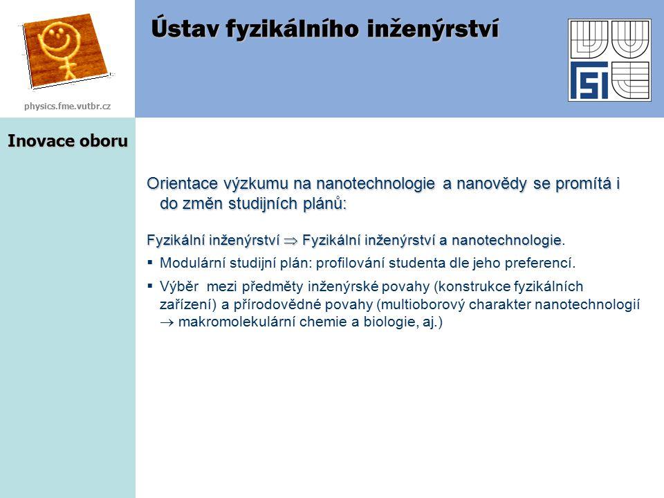 Inovace oboru Ústav fyzikálního inženýrství Orientace výzkumu na nanotechnologie a nanovědy se promítá i do změn studijních plánů: Fyzikální inženýrst