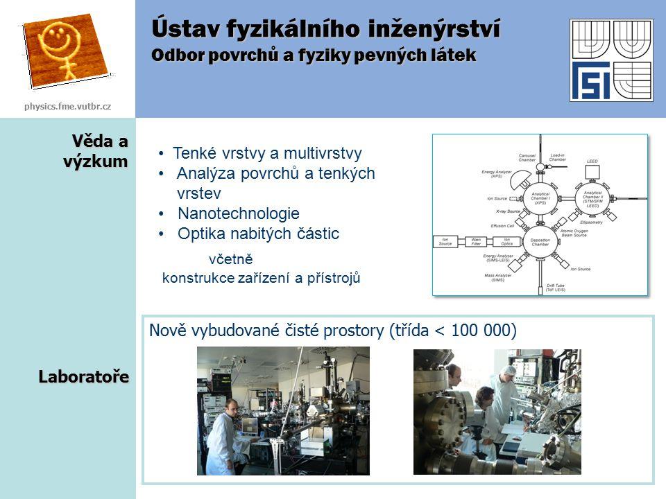 Věda a výzkum Ústav fyzikálního inženýrství Odbor povrchů a fyziky pevných látek Laboratoře Nově vybudované čisté prostory (třída < 100 000) physics.f