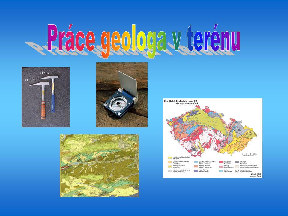 Geologické kladivo Geologický kompas Geologická mapa Deník geologa