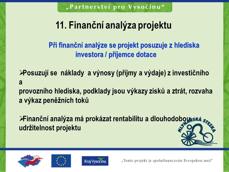 Při finanční analýze se projekt posuzuje z hlediska investora / příjemce dotace  Posuzují se náklady a výnosy (příjmy a výdaje) z investičního a provozního hlediska, podklady jsou výkazy zisků a ztrát, rozvaha a výkaz peněžních toků  Finanční analýza má prokázat rentabilitu a dlouhodobou udržitelnost projektu 11.