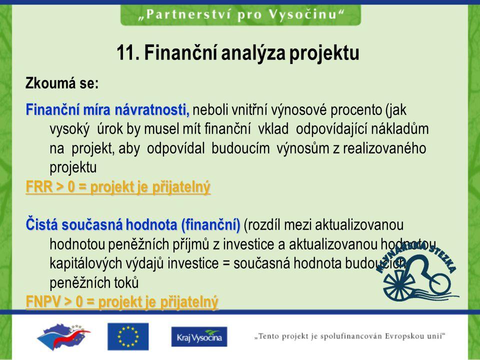 Zkoumá se: Finanční míra návratnosti, Finanční míra návratnosti, neboli vnitřní výnosové procento (jak vysoký úrok by musel mít finanční vklad odpovídající nákladům na projekt, aby odpovídal budoucím výnosům z realizovaného projektu FRR > 0 = projekt je přijatelný Čistá současná hodnota (finanční) Čistá současná hodnota (finanční) (rozdíl mezi aktualizovanou hodnotou peněžních příjmů z investice a aktualizovanou hodnotou kapitálových výdajů investice = současná hodnota budoucích peněžních toků FNPV > 0 = projekt je přijatelný 11.