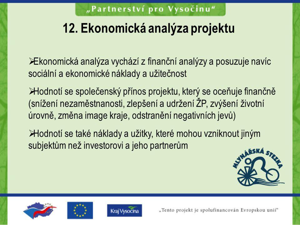  Ekonomická analýza vychází z finanční analýzy a posuzuje navíc sociální a ekonomické náklady a užitečnost  Hodnotí se společenský přínos projektu, který se oceňuje finančně (snížení nezaměstnanosti, zlepšení a udržení ŽP, zvýšení životní úrovně, změna image kraje, odstranění negativních jevů)  Hodnotí se také náklady a užitky, které mohou vzniknout jiným subjektům než investorovi a jeho partnerům 12.