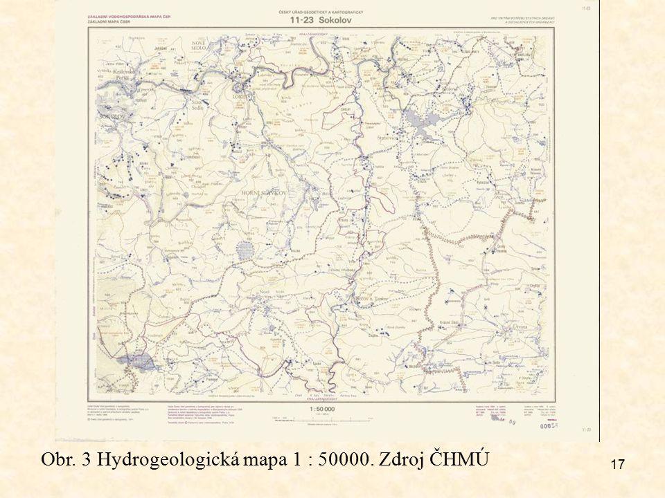 17 Obr. 3 Hydrogeologická mapa 1 : 50000. Zdroj ČHMÚ