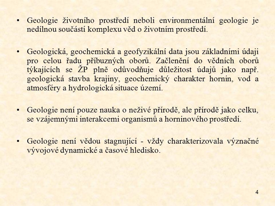 4 Geologie životního prostředí neboli environmentální geologie je nedílnou součástí komplexu věd o životním prostředí. Geologická, geochemická a geofy