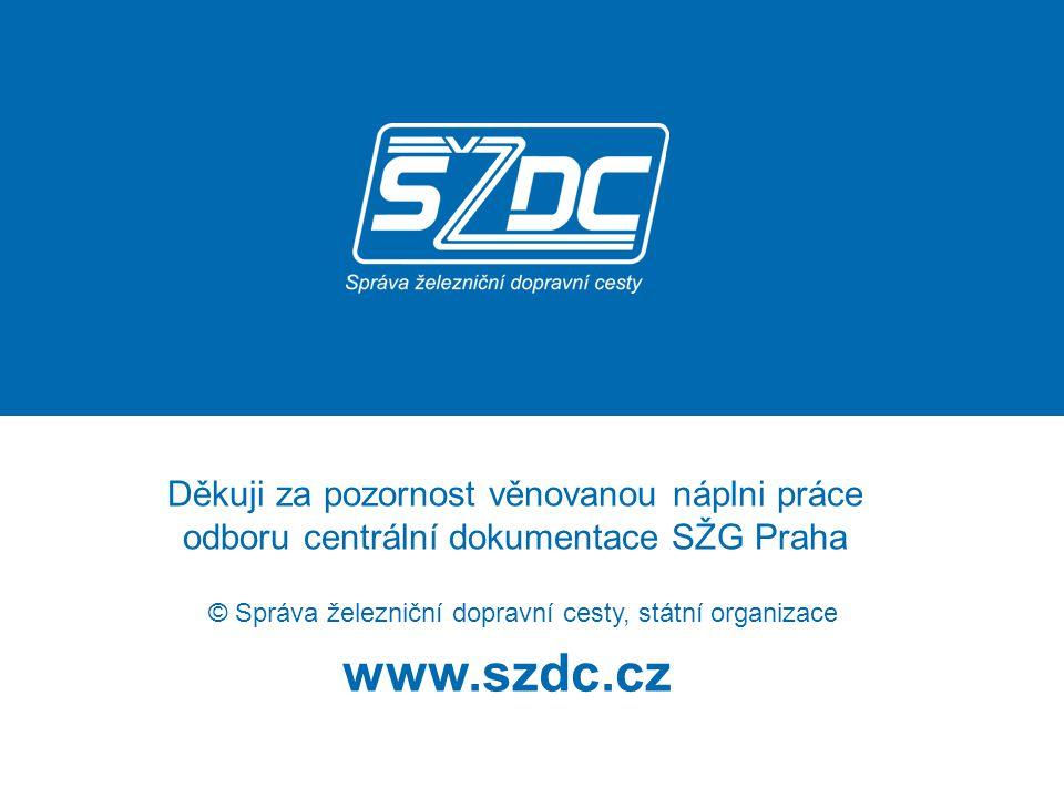 www.szdc.cz © Správa železniční dopravní cesty, státní organizace Děkuji za pozornost věnovanou náplni práce odboru centrální dokumentace SŽG Praha