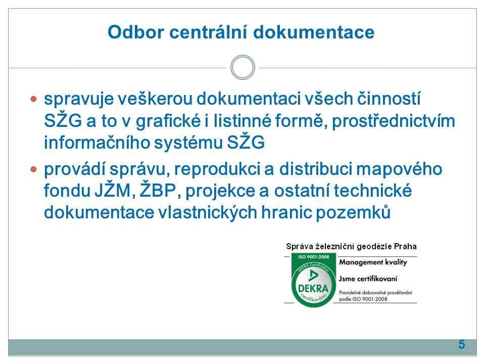 spravuje veškerou dokumentaci všech činností SŽG a to v grafické i listinné formě, prostřednictvím informačního systému SŽG provádí správu, reprodukci