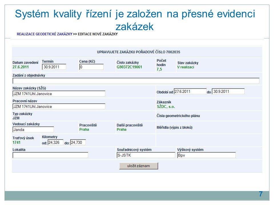 Systém kvality řízení je založen na přesné evidenci zakázek 7
