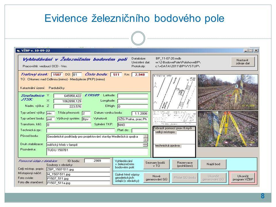 Evidence železničního bodového pole 8