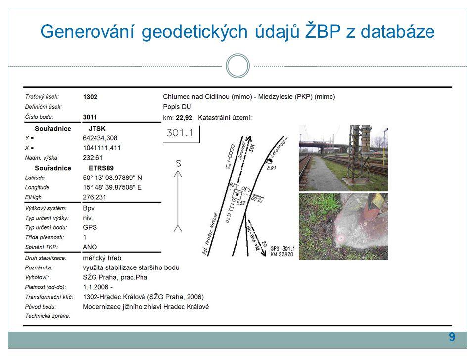 Generování geodetických údajů ŽBP z databáze 9