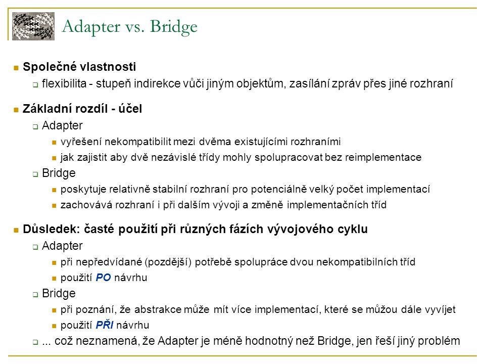 Adapter vs. Bridge Společné vlastnosti  flexibilita - stupeň indirekce vůči jiným objektům, zasílání zpráv přes jiné rozhraní Základní rozdíl - účel