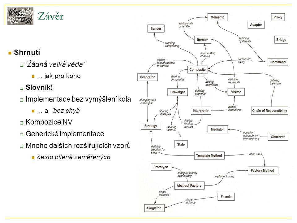 Závěr Shrnutí  'Žádná velká věda'... jak pro koho  Slovník!  Implementace bez vymýšlení kola... a 'bez chyb'  Kompozice NV  Generické implementac