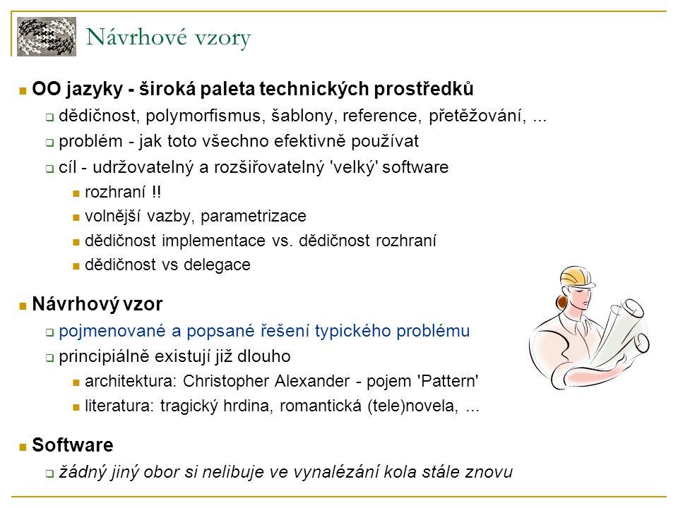 Návrhové vzory OO jazyky - široká paleta technických prostředků  dědičnost, polymorfismus, šablony, reference, přetěžování,...  problém - jak toto v