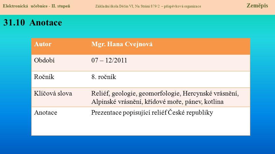AutorMgr. Hana Cvejnová Období07 – 12/2011 Ročník8. ročník Klíčová slovaReliéf, geologie, geomorfologie, Hercynské vrásnění, Alpinské vrásnění, křídov