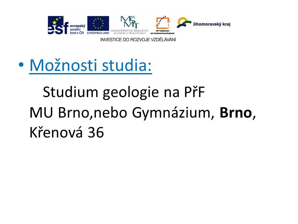 Možnosti studia: Studium geologie na PřF MU Brno,nebo Gymnázium, Brno, Křenová 36
