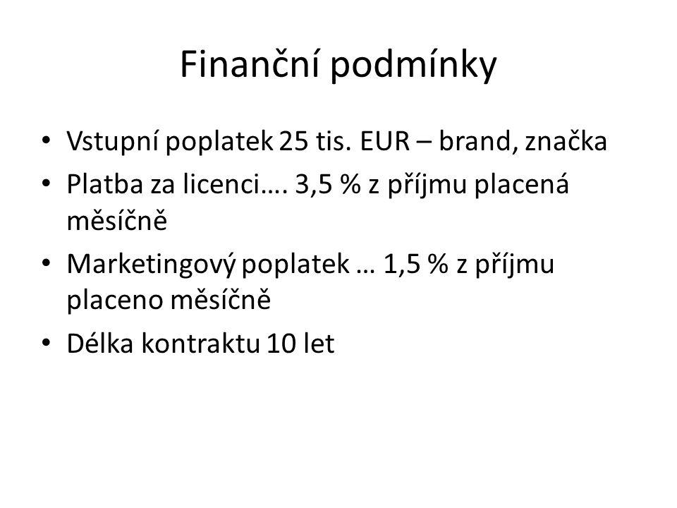 Finanční podmínky Vstupní poplatek 25 tis. EUR – brand, značka Platba za licenci….