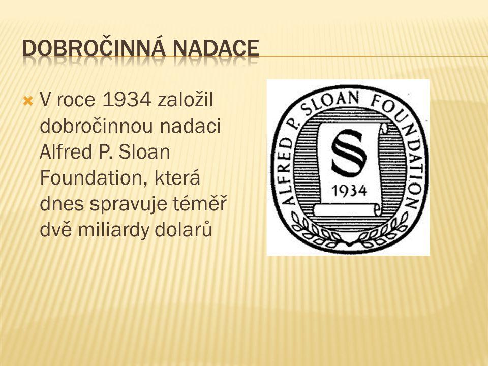  V roce 1934 založil dobročinnou nadaci Alfred P.