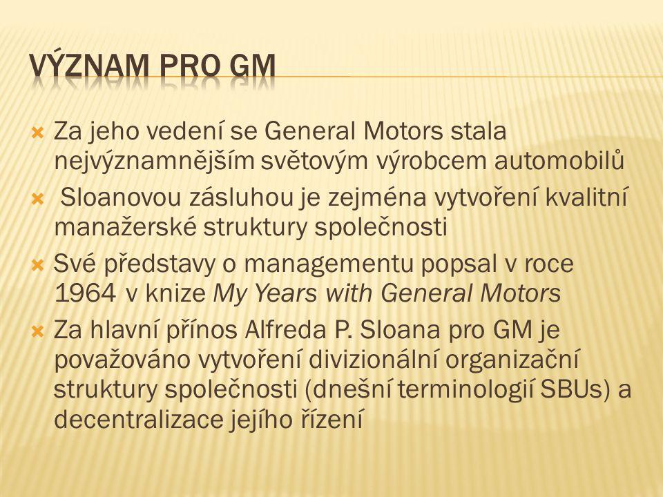  Za jeho vedení se General Motors stala nejvýznamnějším světovým výrobcem automobilů  Sloanovou zásluhou je zejména vytvoření kvalitní manažerské struktury společnosti  Své představy o managementu popsal v roce 1964 v knize My Years with General Motors  Za hlavní přínos Alfreda P.