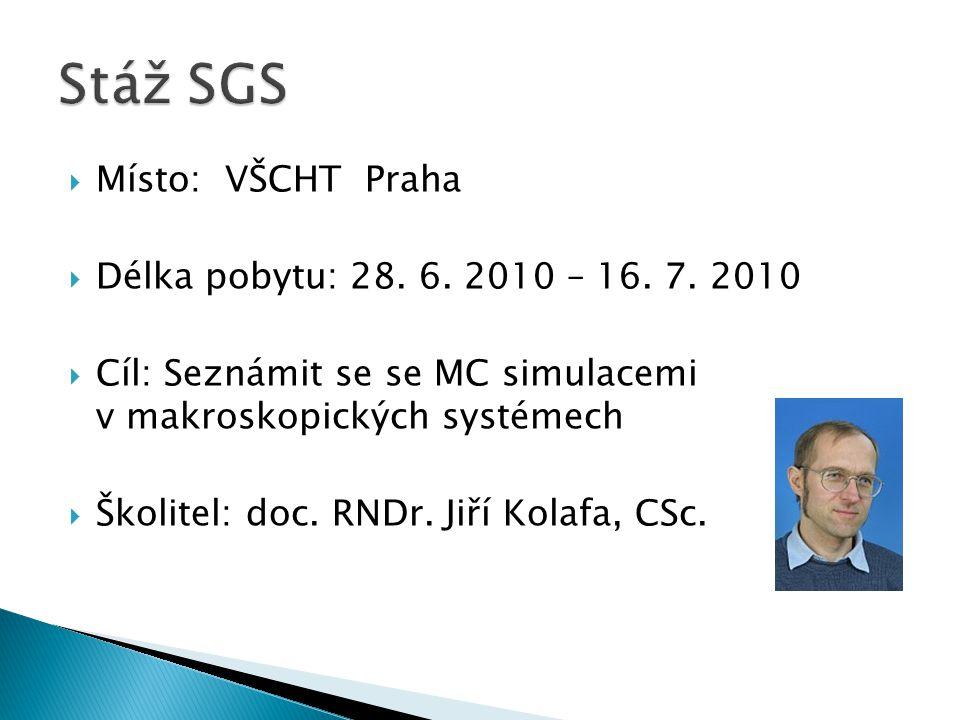  Místo: VŠCHT Praha  Délka pobytu: 28. 6. 2010 – 16.