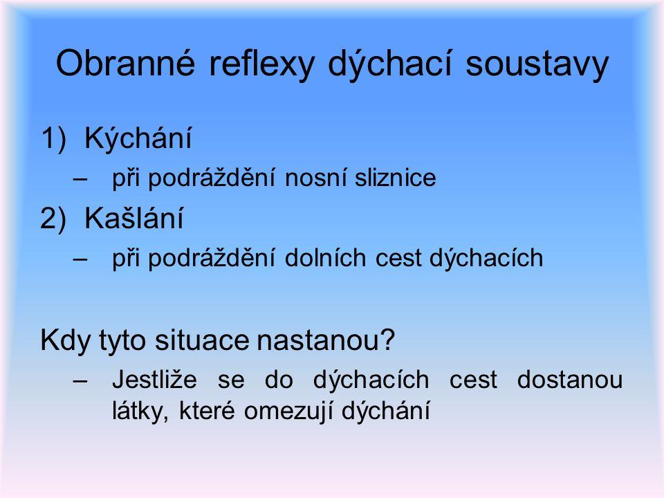 Obranné reflexy dýchací soustavy 1)Kýchání –při podráždění nosní sliznice 2)Kašlání –při podráždění dolních cest dýchacích Kdy tyto situace nastanou?