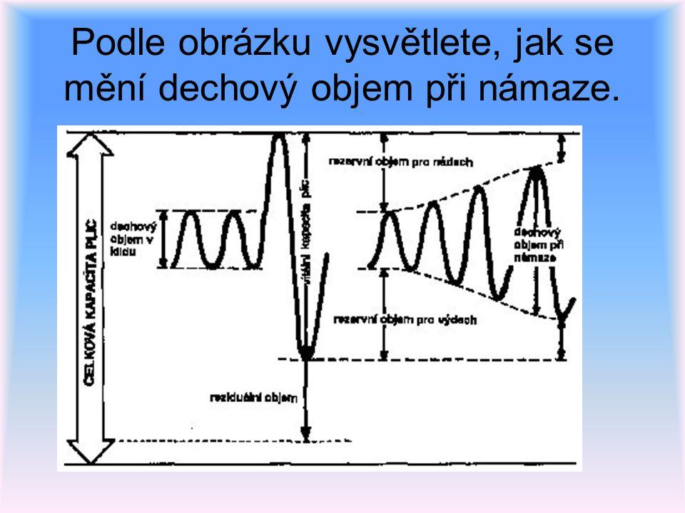 Podle obrázku vysvětlete, jak se mění dechový objem při námaze.