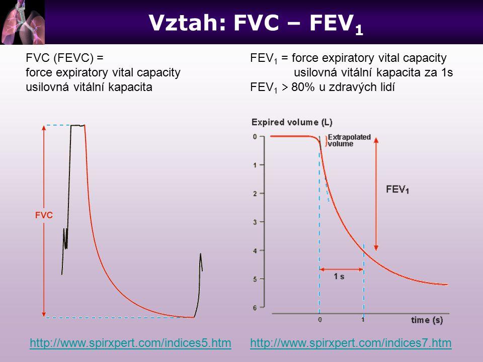 FVC (FEVC) = force expiratory vital capacity usilovná vitální kapacita http://www.spirxpert.com/indices5.htm FEV 1 = force expiratory vital capacity u