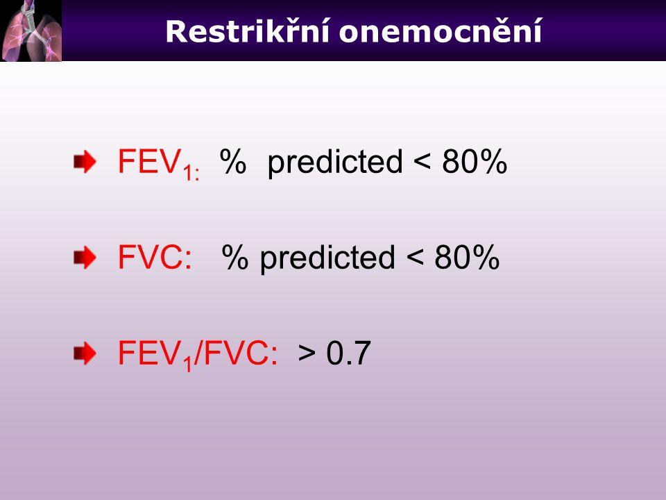 FEV 1: % predicted < 80% FVC: % predicted < 80% FEV 1 /FVC: > 0.7 Restrikřní onemocnění