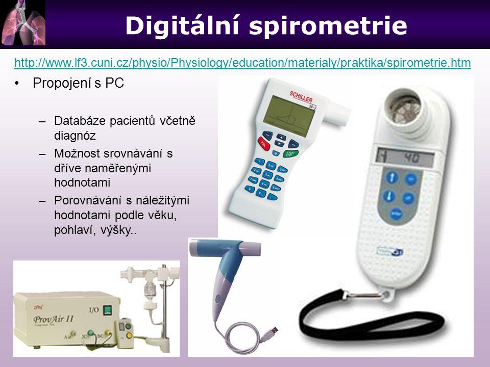 Digitální spirometrie http://www.lf3.cuni.cz/physio/Physiology/education/materialy/praktika/spirometrie.htm Propojení s PC –Databáze pacientů včetně d