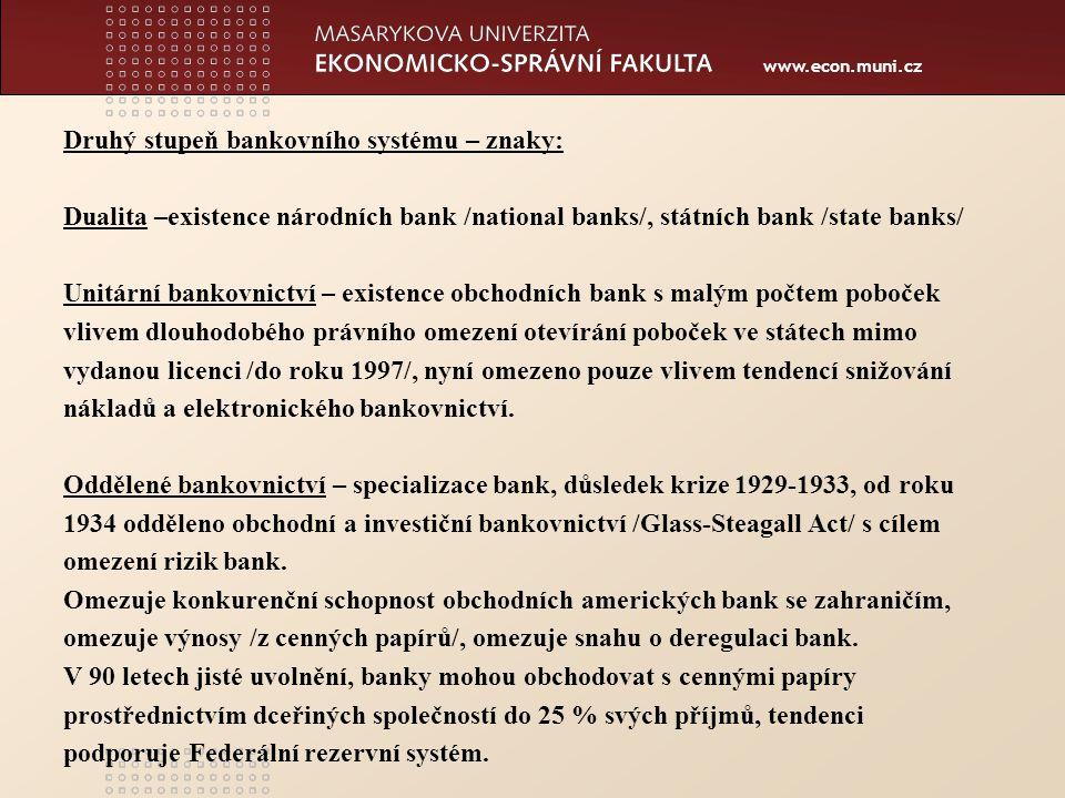 www.econ.muni.cz Regulace a dohled obchodních bank Nejvýznamnější je činnost Federálního rezervního systému a Federální korporace pojištění vkladů /dohled na místě/.