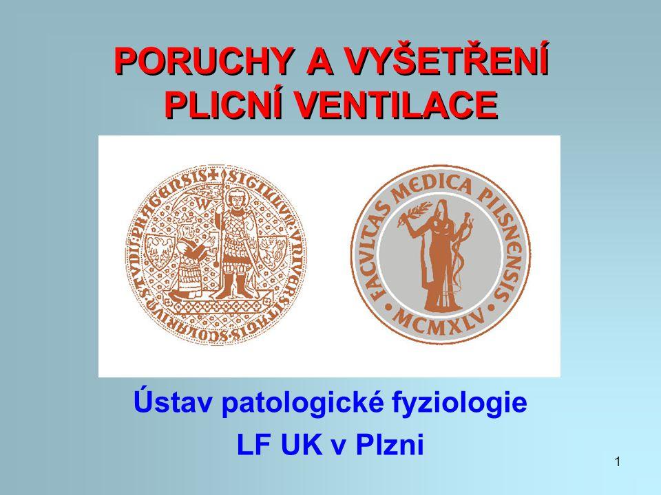 1 PORUCHY A VYŠETŘENÍ PLICNÍ VENTILACE Ústav patologické fyziologie LF UK v Plzni