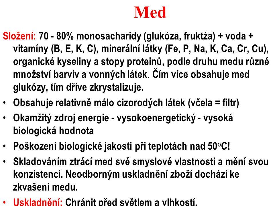 Med Složení: 70 - 80% monosacharidy (glukóza, fruktźa) + voda + vitamíny (B, E, K, C), minerální látky (Fe, P, Na, K, Ca, Cr, Cu), organické kyseliny