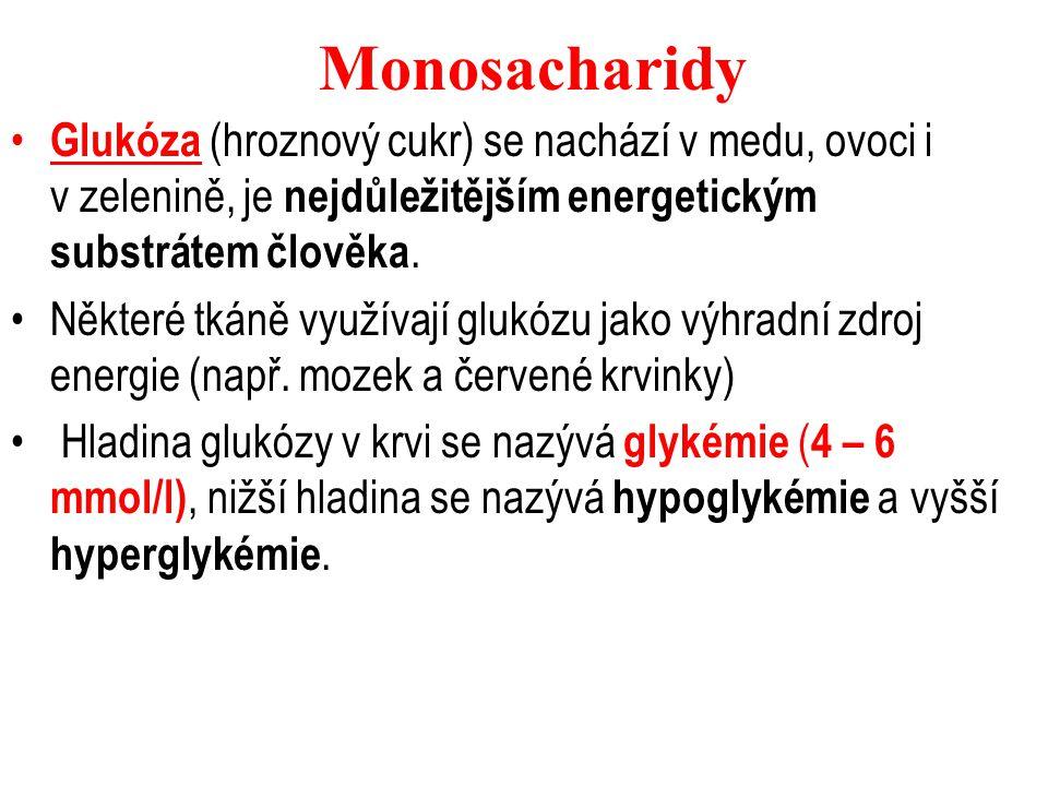 Fruktóza se jako volný monosacharid se nachází zejména v ovoci a medu, častěji se v naší stravě vyskytuje jako součást sacharózy.Nutričně je stejně hodnotná jako glukóza.
