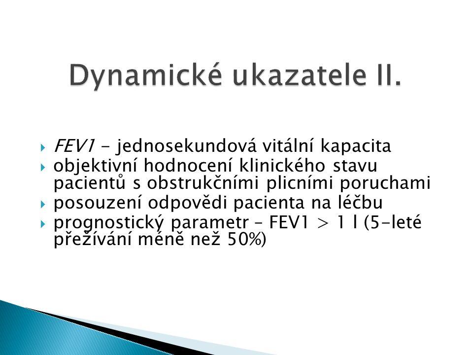  FEV1 - jednosekundová vitální kapacita  objektivní hodnocení klinického stavu pacientů s obstrukčními plicními poruchami  posouzení odpovědi pacie