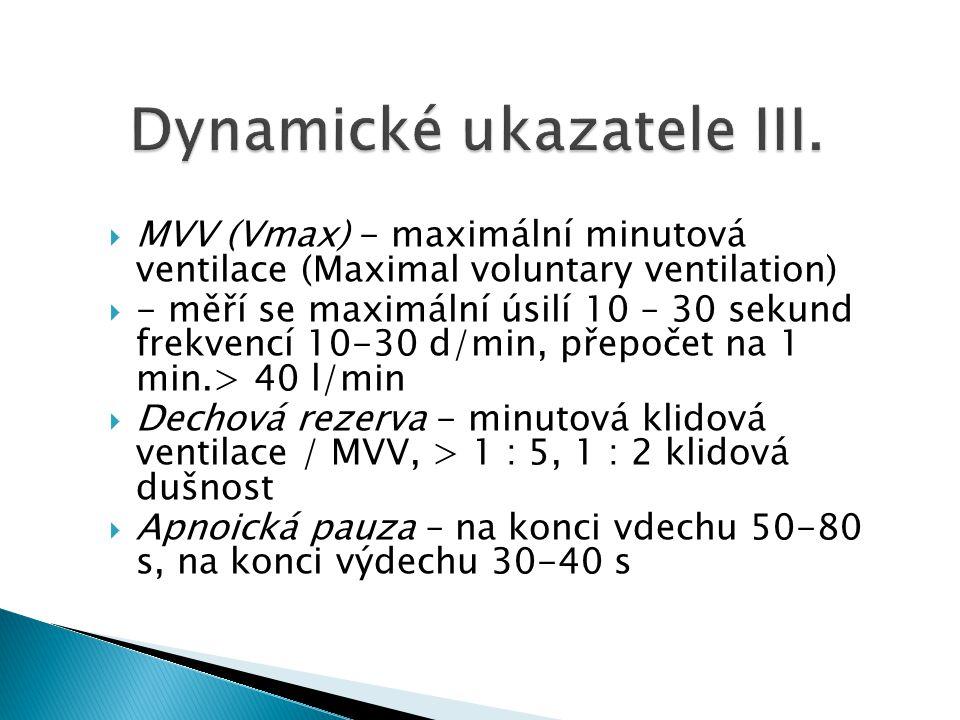  MVV (Vmax) - maximální minutová ventilace (Maximal voluntary ventilation)  - měří se maximální úsilí 10 – 30 sekund frekvencí 10-30 d/min, přepočet