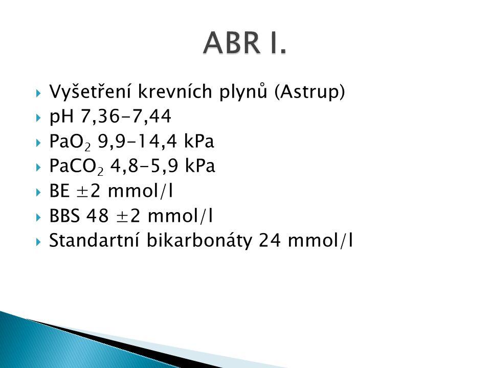  Vyšetření krevních plynů (Astrup)  pH 7,36-7,44  PaO 2 9,9-14,4 kPa  PaCO 2 4,8-5,9 kPa  BE ±2 mmol/l  BBS 48 ±2 mmol/l  Standartní bikarbonát