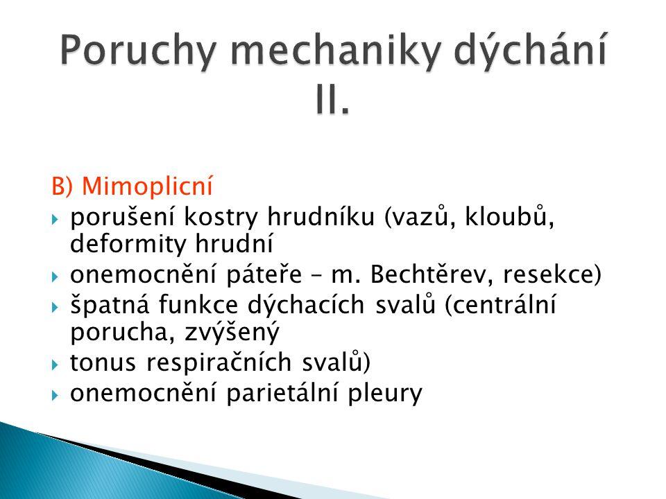 B) Mimoplicní  porušení kostry hrudníku (vazů, kloubů, deformity hrudní  onemocnění páteře – m. Bechtěrev, resekce)  špatná funkce dýchacích svalů
