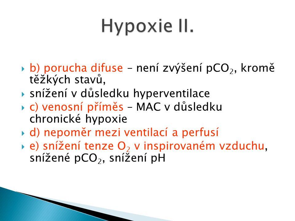  b) porucha difuse – není zvýšení pCO 2, kromě těžkých stavů,  snížení v důsledku hyperventilace  c) venosní příměs – MAC v důsledku chronické hypo