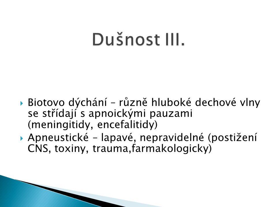  Biotovo dýchání – různě hluboké dechové vlny se střídají s apnoickými pauzami (meningitidy, encefalitidy)  Apneustické – lapavé, nepravidelné (post