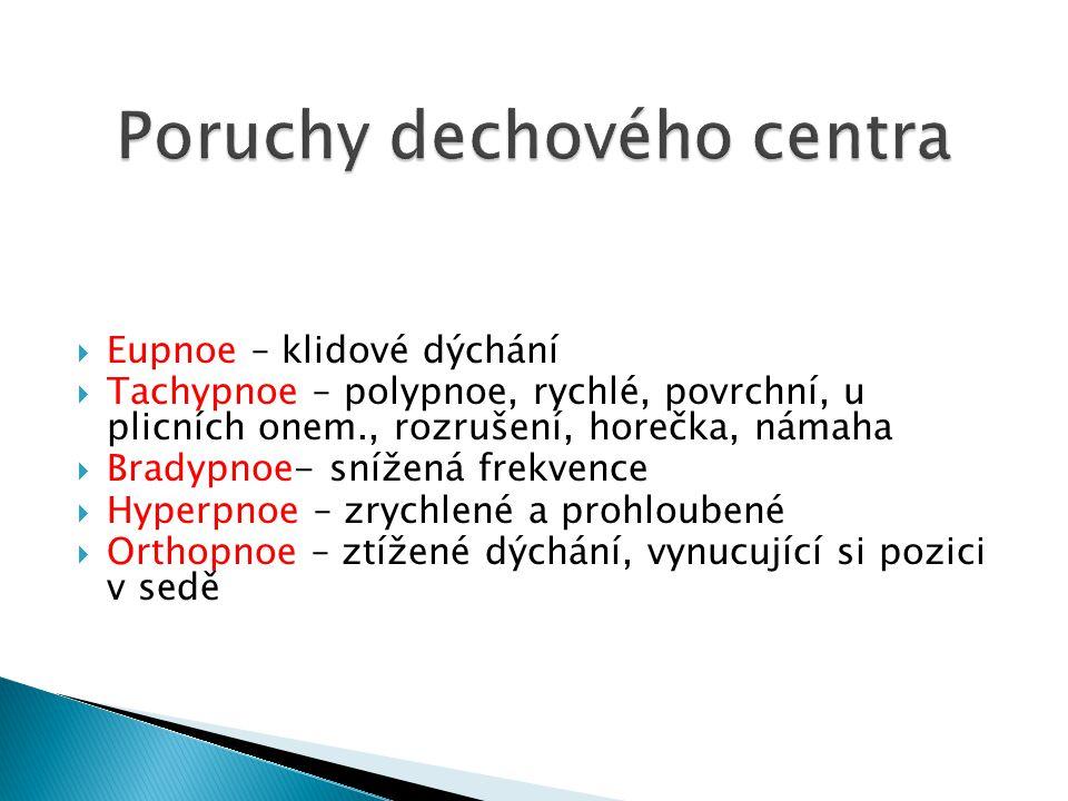  Eupnoe – klidové dýchání  Tachypnoe – polypnoe, rychlé, povrchní, u plicních onem., rozrušení, horečka, námaha  Bradypnoe- snížená frekvence  Hyp