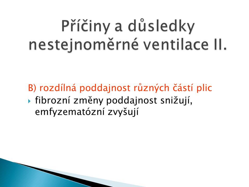 B) rozdílná poddajnost různých částí plic  fibrozní změny poddajnost snižují, emfyzematózní zvyšují