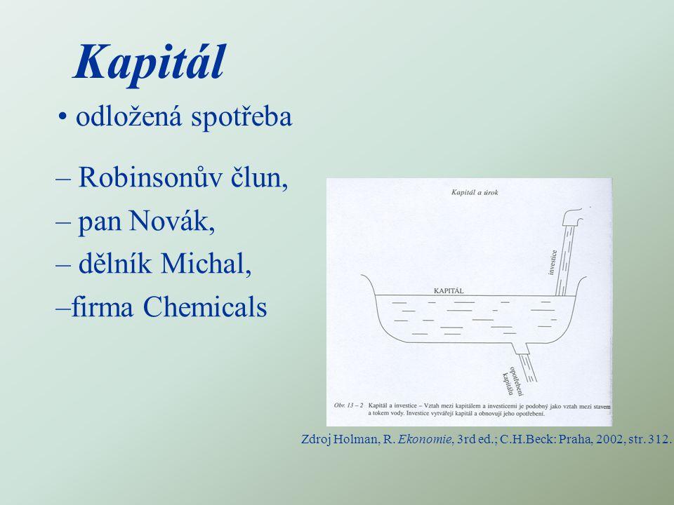 Kapitál odložená spotřeba – Robinsonův člun, – pan Novák, – dělník Michal, –firma Chemicals Zdroj Holman, R.