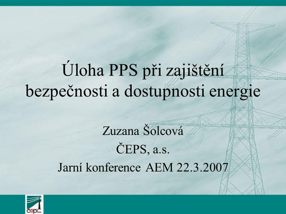 Úloha PPS při zajištění bezpečnosti a dostupnosti energie Zuzana Šolcová ČEPS, a.s.