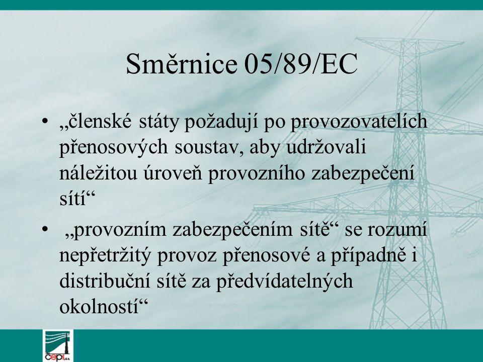 """Směrnice 05/89/EC """"členské státy požadují po provozovatelích přenosových soustav, aby udržovali náležitou úroveň provozního zabezpečení sítí """"provozním zabezpečením sítě se rozumí nepřetržitý provoz přenosové a případně i distribuční sítě za předvídatelných okolností"""