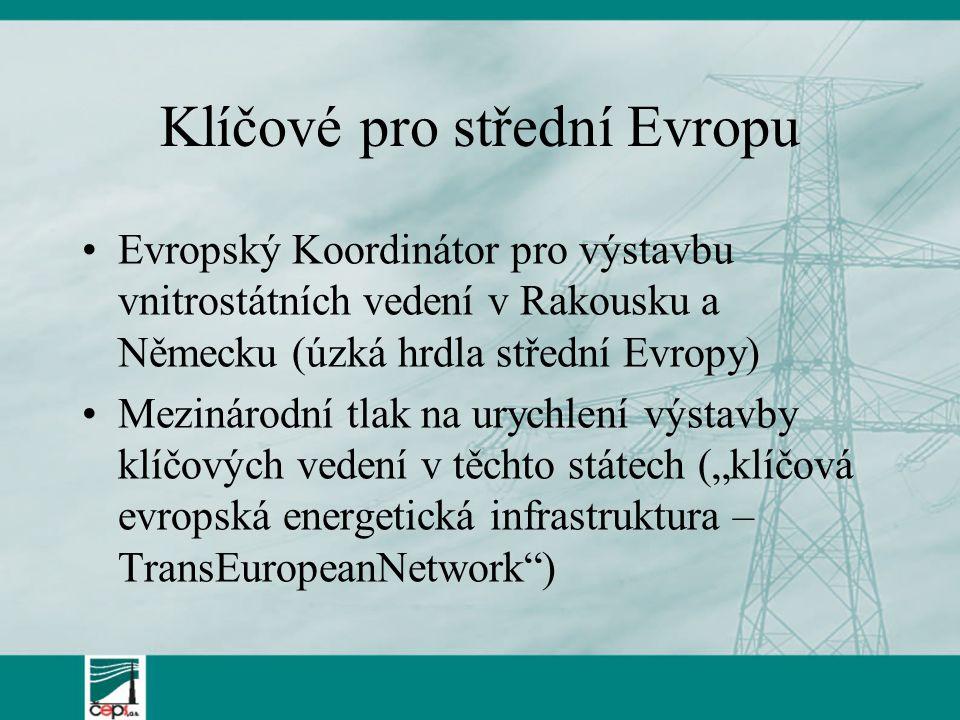 """Klíčové pro střední Evropu Evropský Koordinátor pro výstavbu vnitrostátních vedení v Rakousku a Německu (úzká hrdla střední Evropy) Mezinárodní tlak na urychlení výstavby klíčových vedení v těchto státech (""""klíčová evropská energetická infrastruktura – TransEuropeanNetwork )"""