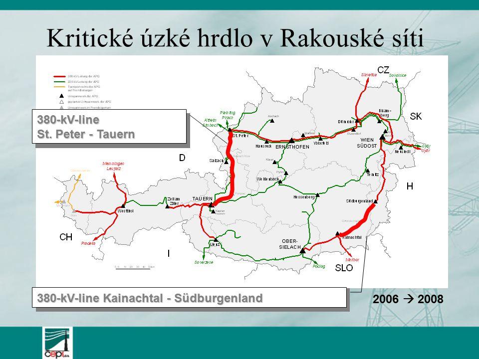 Kritické úzké hrdlo v Rakouské síti 380-kV-line Kainachtal - Südburgenland 380-kV-line St.