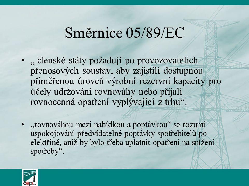 """Směrnice 05/89/EC """" členské státy požadují po provozovatelích přenosových soustav, aby zajistili dostupnou přiměřenou úroveň výrobní rezervní kapacity pro účely udržování rovnováhy nebo přijali rovnocenná opatření vyplývající z trhu ."""