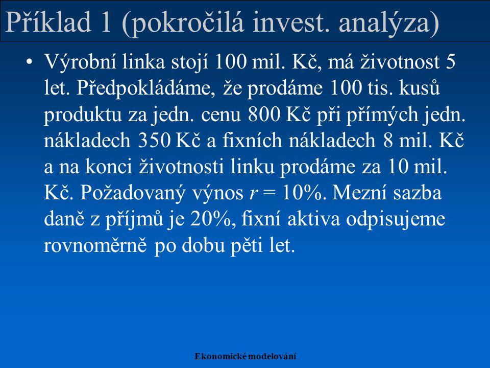 Ekonomické modelování Příklad 1 (pokročilá invest. analýza) Výrobní linka stojí 100 mil. Kč, má životnost 5 let. Předpokládáme, že prodáme 100 tis. ku