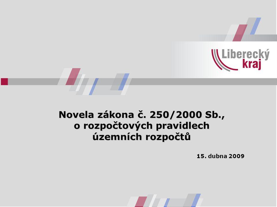 Novela zákona č. 250/2000 Sb., o rozpočtových pravidlech územních rozpočtů 15. dubna 2009