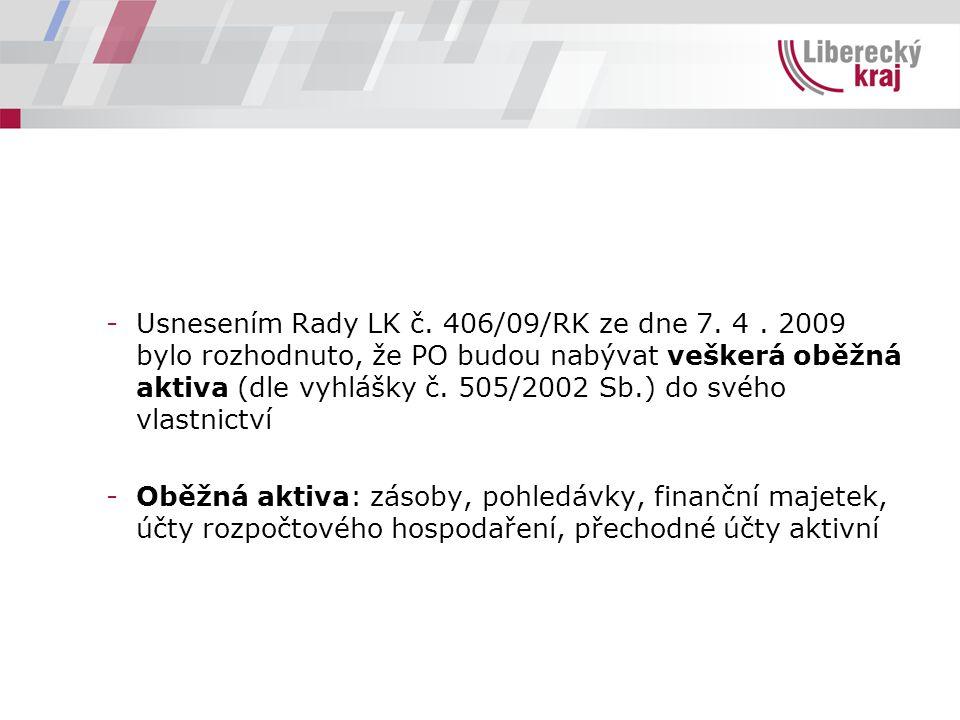 -Usnesením Rady LK č. 406/09/RK ze dne 7. 4. 2009 bylo rozhodnuto, že PO budou nabývat veškerá oběžná aktiva (dle vyhlášky č. 505/2002 Sb.) do svého v